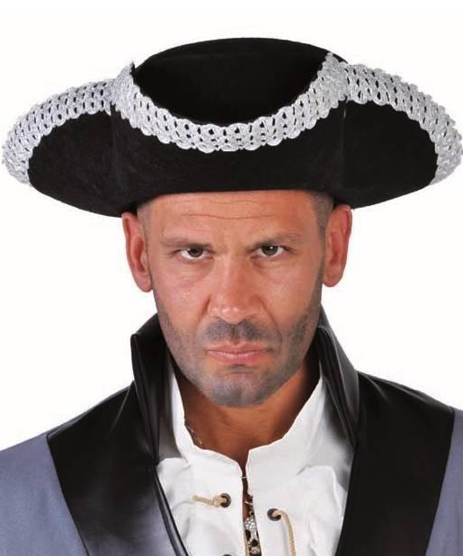 Chapeau-Tricorne-noir-argent