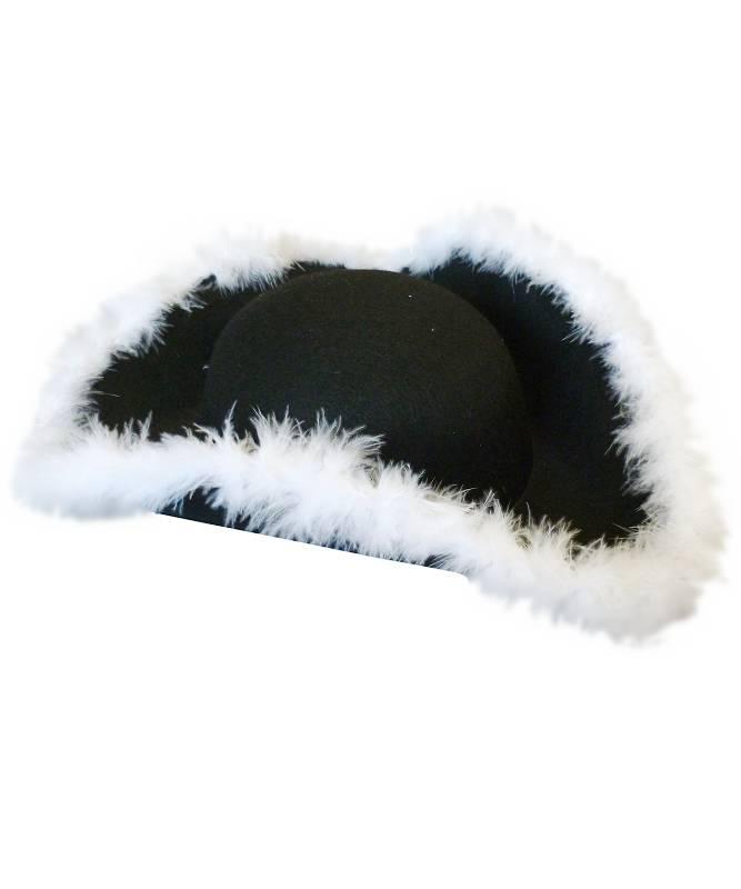 Chapeau-Tricorne-noir-avec-marabout