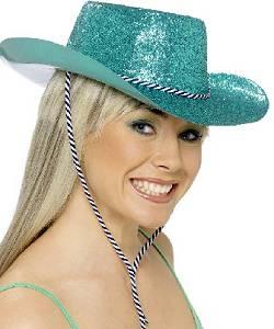 Chapeau-Saloon-pailleté-turquoise