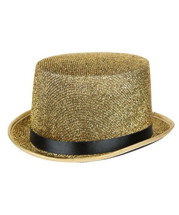 Chapeau-Haut-de-forme-Lurex-or