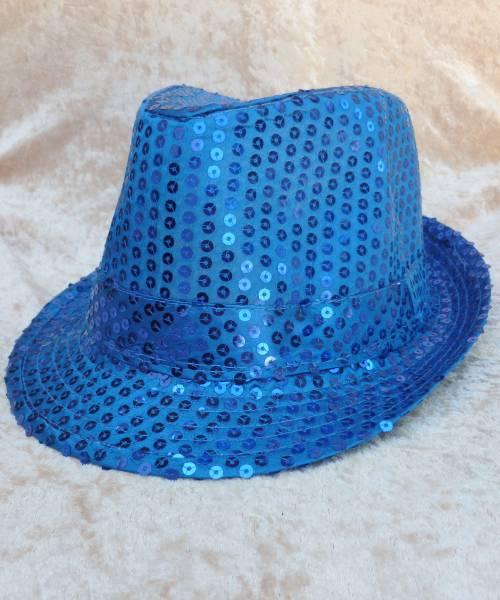 Chapeau-Disco-paillette-bleu
