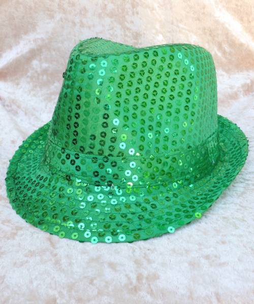 Chapeau-Disco-paillette-vert