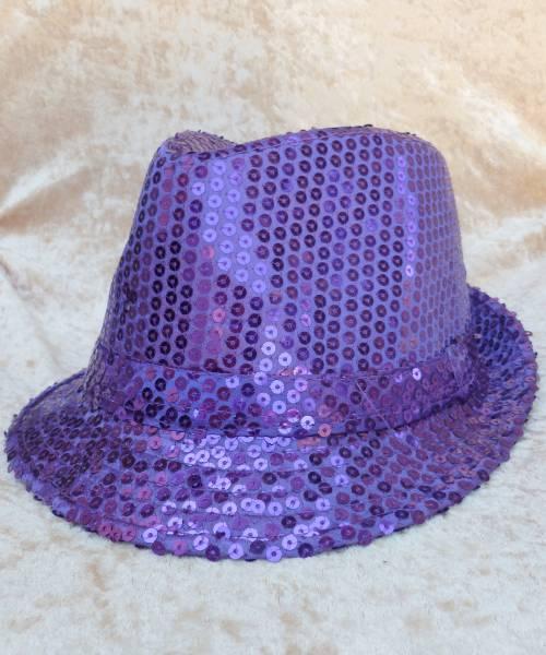 Chapeau-Disco-violet-à-paillettes