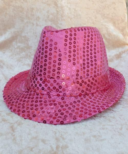 Chapeau-Disco-paillette-rose-vif