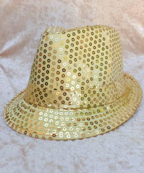 Chapeau-Disco-à-paillettes-dorées
