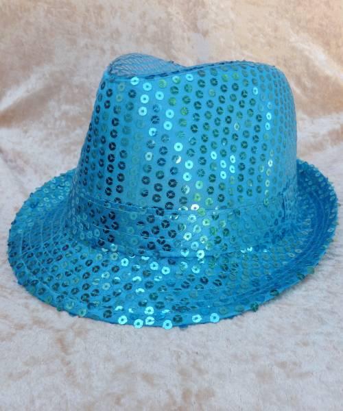 Chapeau-Disco-turquoise-à-paillettes