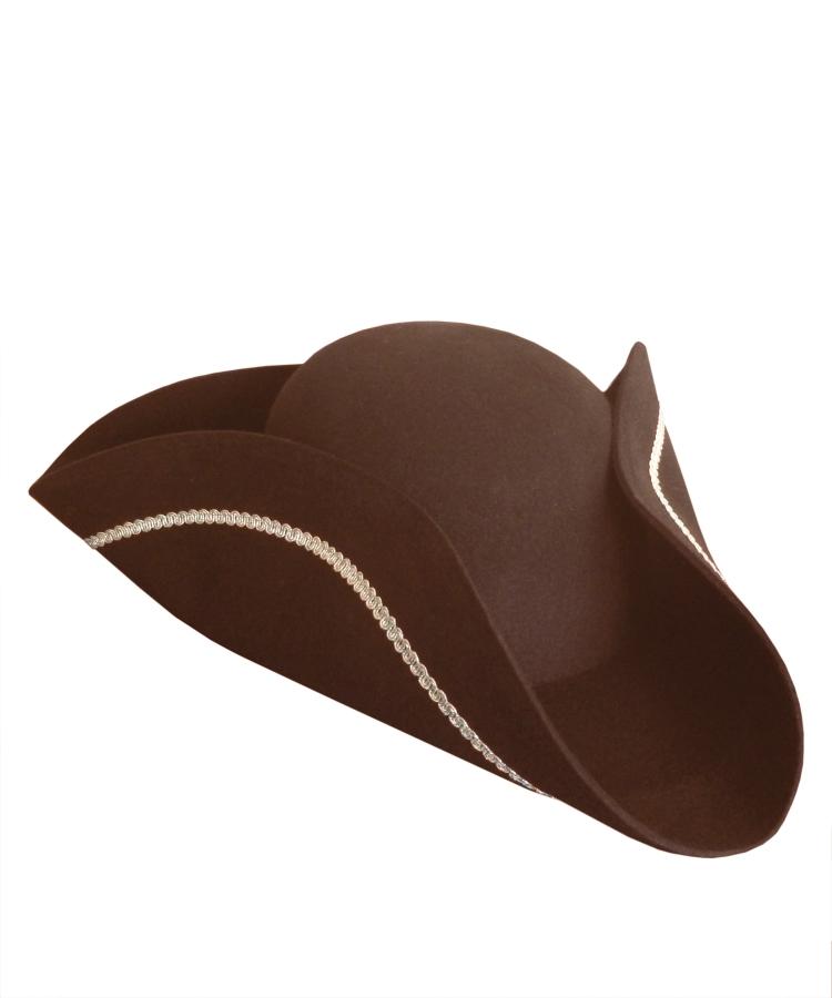 Chapeau-Tricorne-marron-en-laine