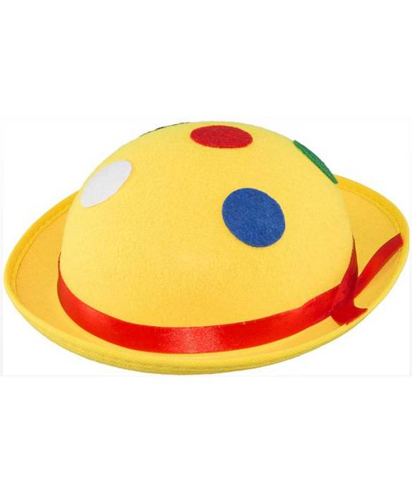 Chapeau-de-clown-jaune-pois