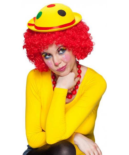 Chapeau-de-clown-jaune-à-pois-2