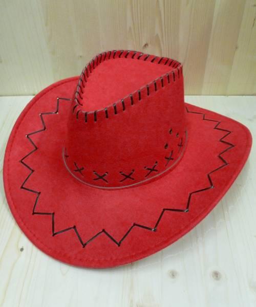Chapeau-Cowboy-rouge-en-suédine