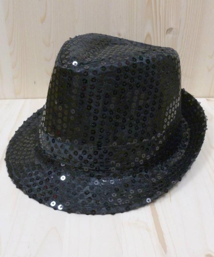 Chapeau-disco-noir-à-paillettes