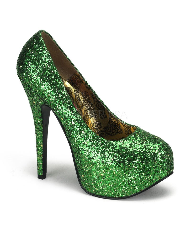 Chaussures-pailletées-vertes