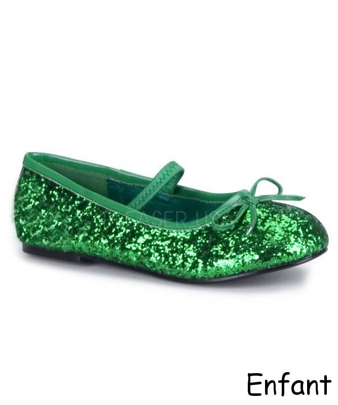 Ballerines-enfant-vert