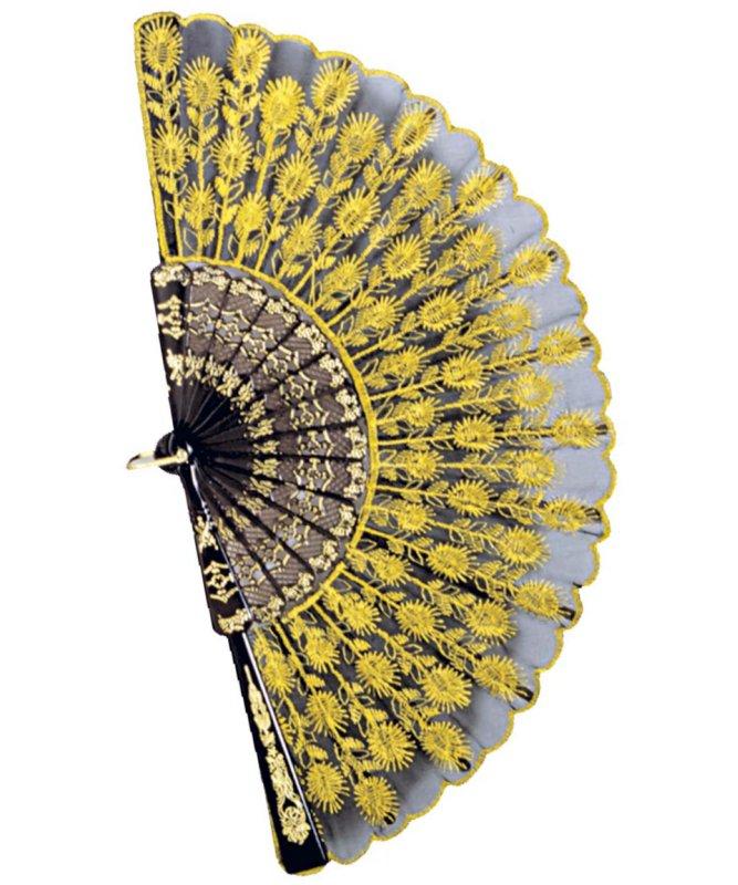 Eventail-brodé-jaune