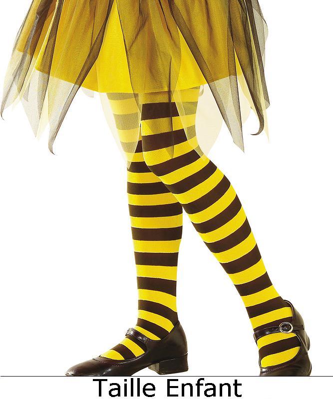 Collant-rayé-noir-et-jaune-pour-enfant