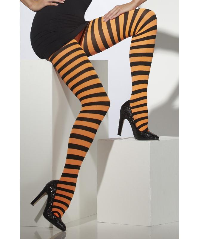 Collant-rayé-noir-et-orange