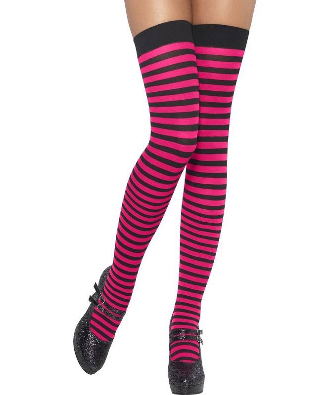 Bas-rayés-rose-et-noir-M1