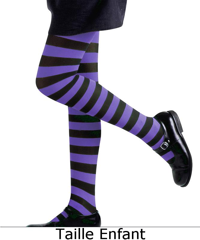 Collant-ray�-violet-noir-Enfant