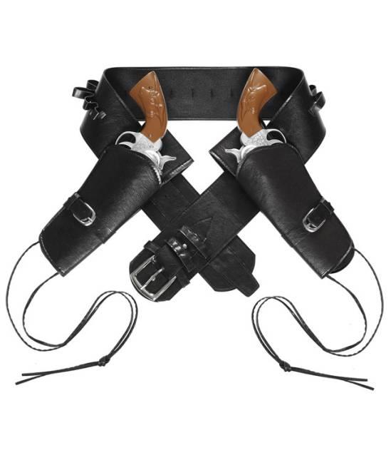Ceinture-Cowboy-Holster-double-noir