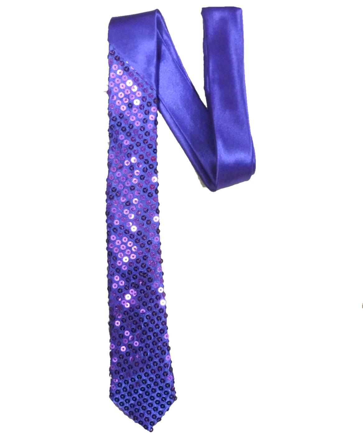 Cravate-paillettes-violette