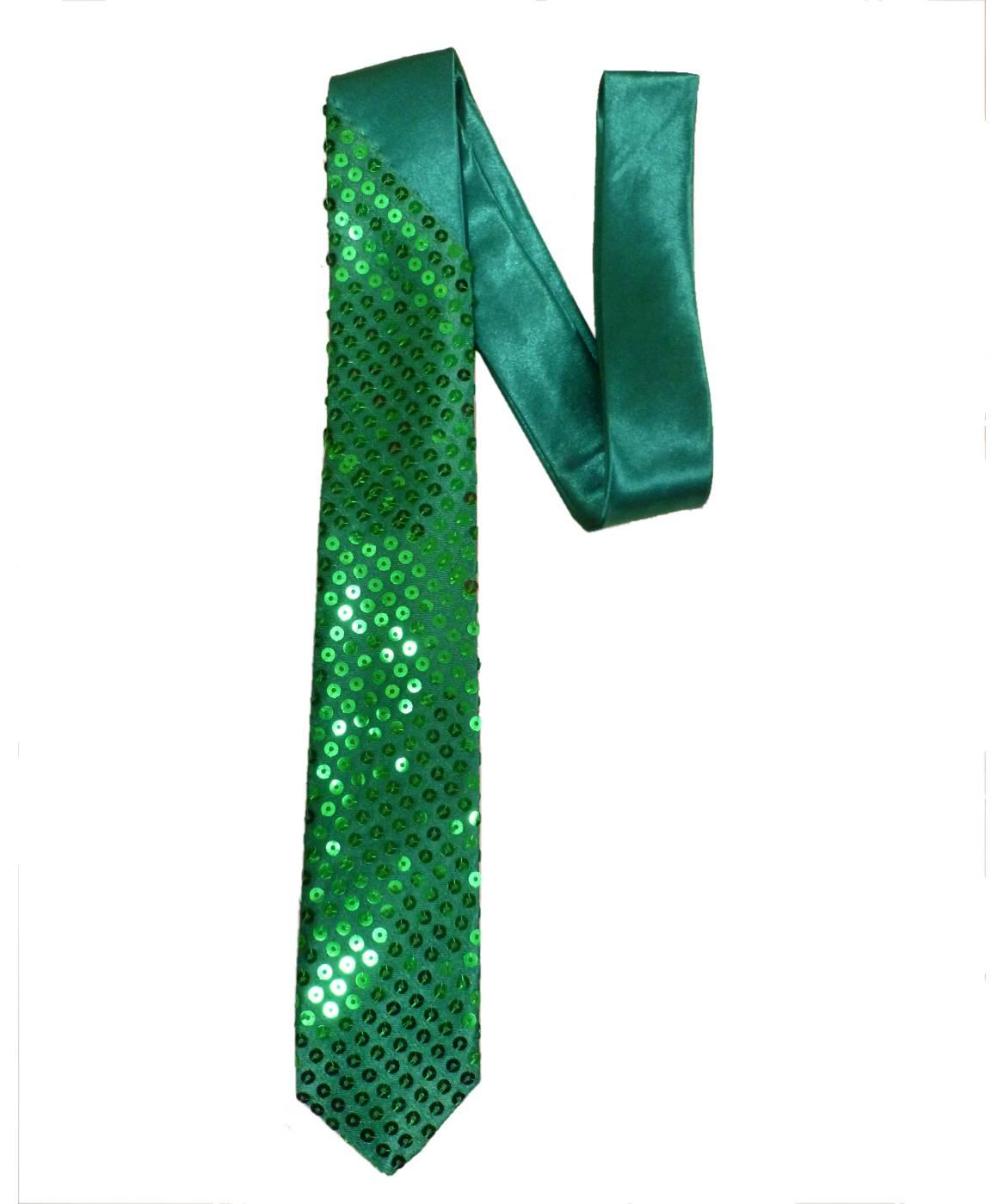 Cravate-paillettes-verte