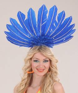 Coiffe-en-plumes-bleue
