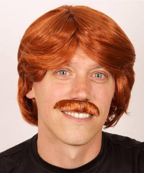 Perruque d'homme roux avec moustache-P201