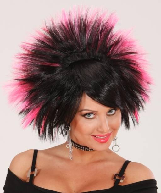 Perruque-Punk-noir-rose