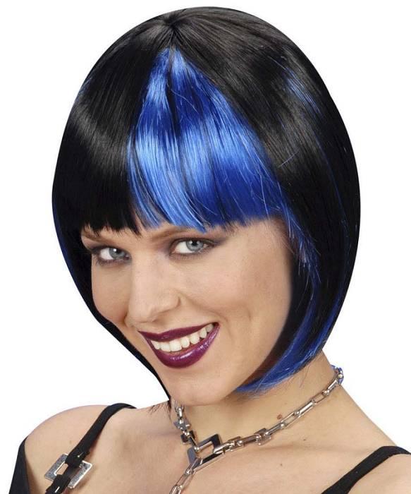 Perruque-Carré-bicolore-noir-et-Bleu