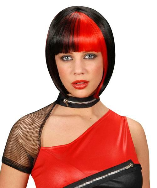 Perruque-Carré-bicolore-noir-Rouge