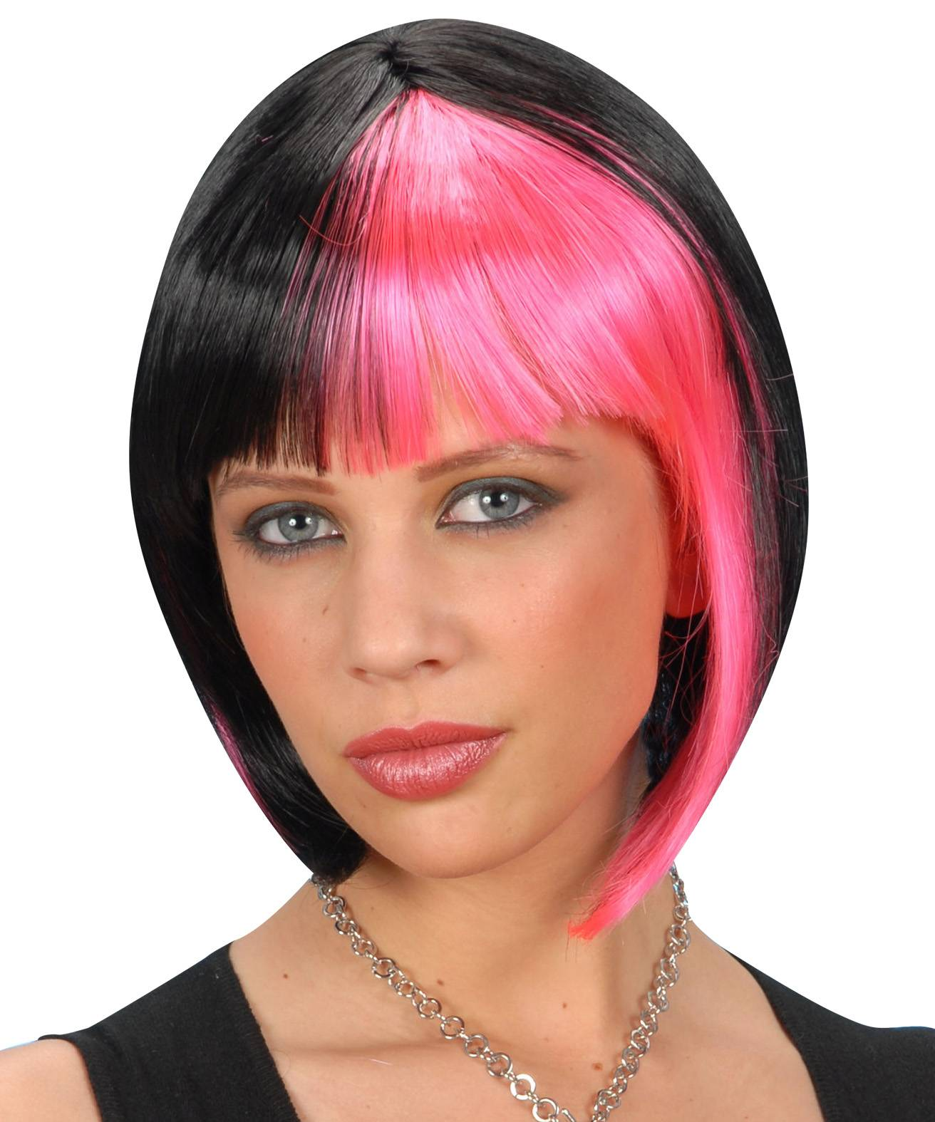 Perruque-Carré-bicolore-noir-et-rose