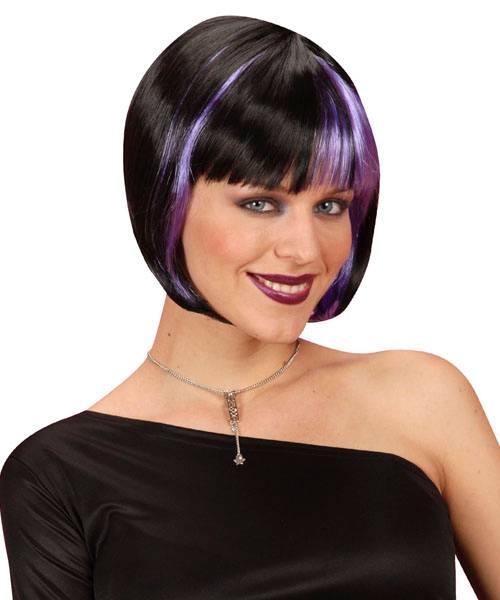 Perruque-Carré-bicolore-noir-et-Violet