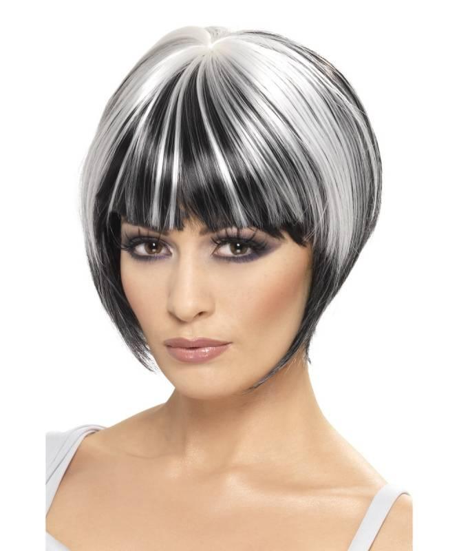 Perruque-Mechée-noir-et-blanc