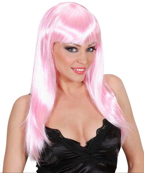 Perruque-Rose-pâle-longue
