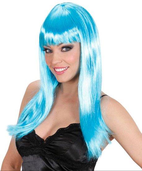 Perruque-Bleu-azur-longue