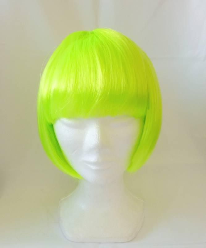 Perruque-carré-court-avec-frange-vert-fluo