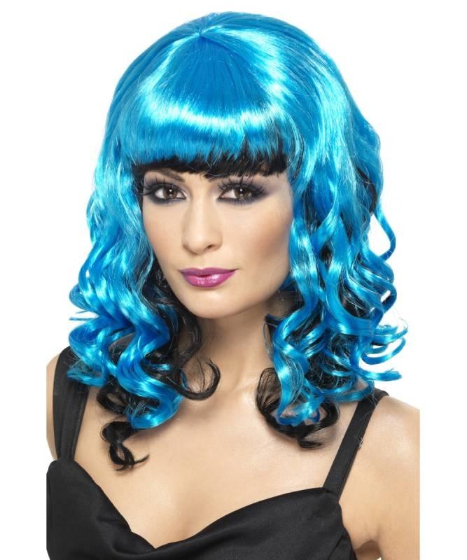 Perruque-Angel-bleu-électrique