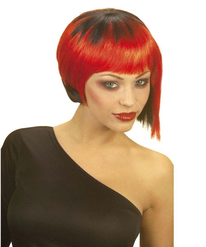 Perruque-Neo-Punk-noire-rouge