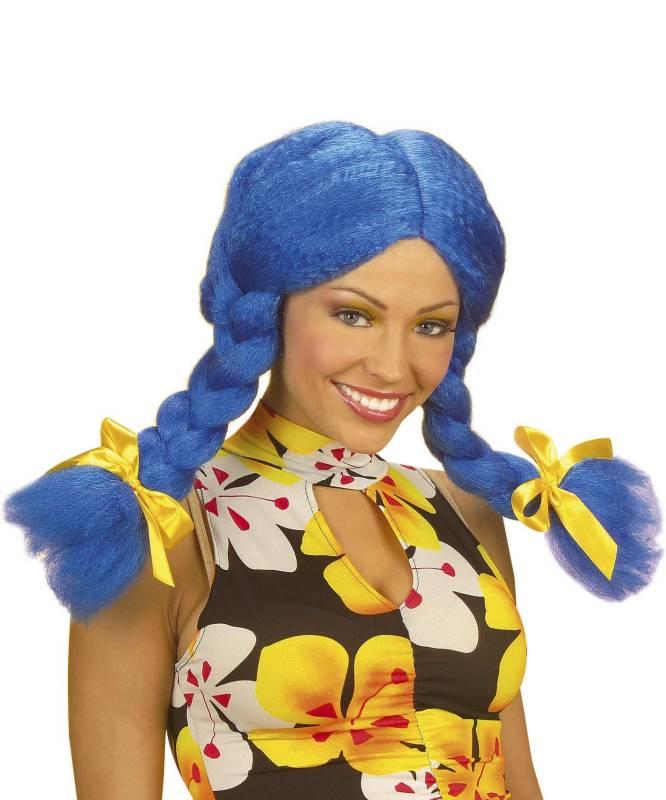 Perruque-Poupée-couettes-bleue