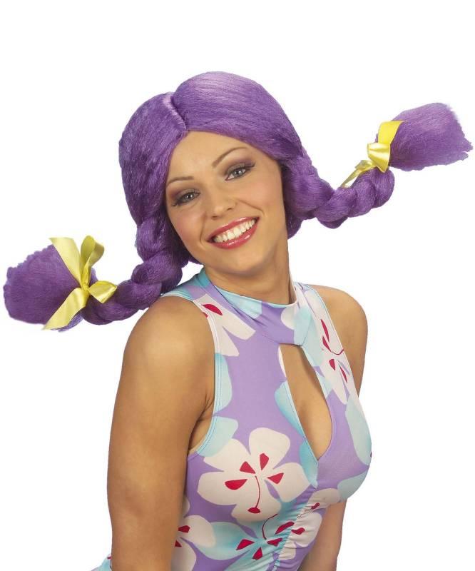 Perruque-Poupée-couettes-violettes