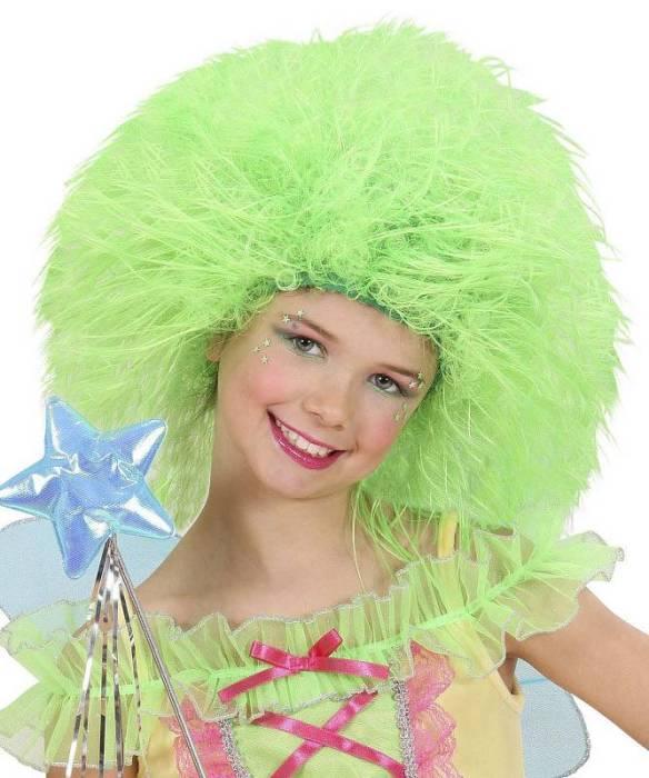 Perruque-Enfant-vert-néon-Touffe