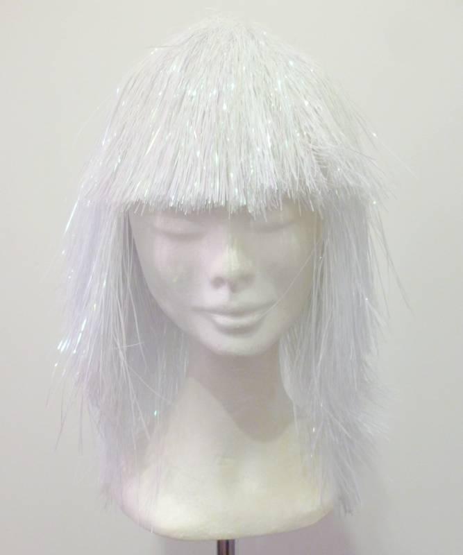 Perruque-Disco-lamée-blanche