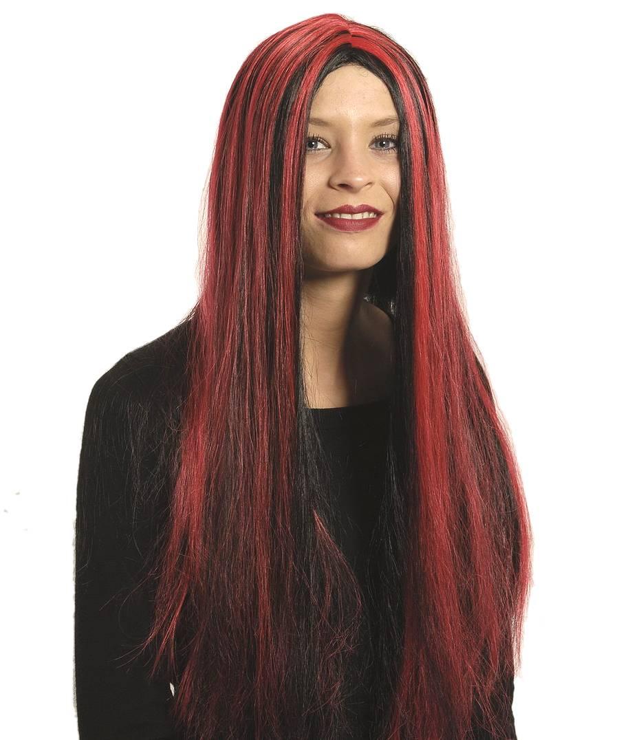 Perruque-Longue-noir-rouge