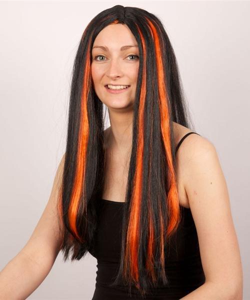Perruque-Longue-mèches-orange