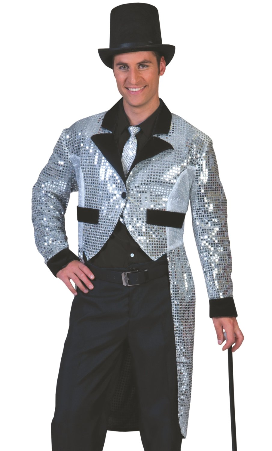 Veste-queue-de-pie-Homme-argent