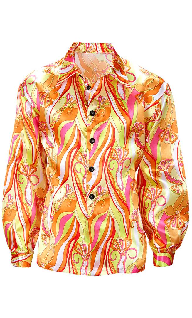 Chemise hippie 70s orange