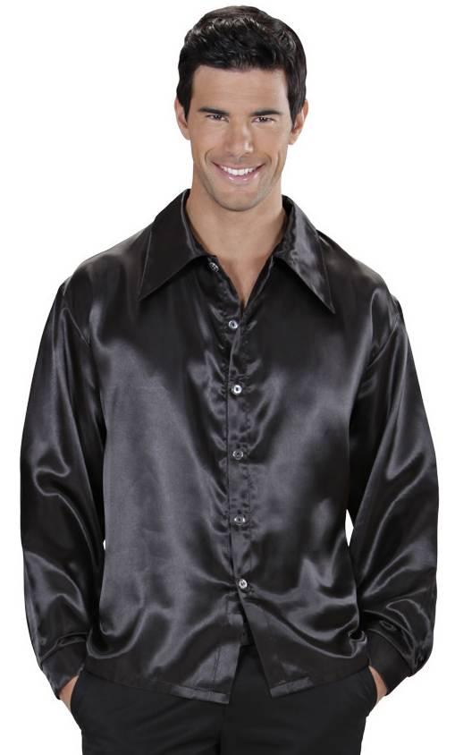 Chemise-Satin-Noir-Grande-Taille-XL