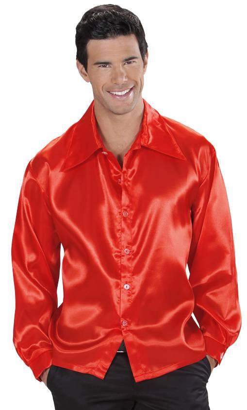 Chemise satin rouge v19857 - Chemise rouge et noir homme ...