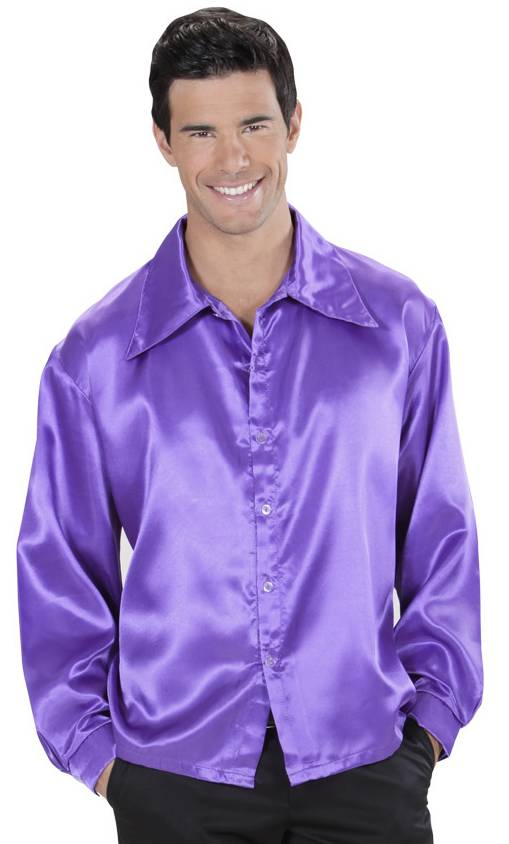 Chemise-Satin-Violet-Grande-Taille-XL