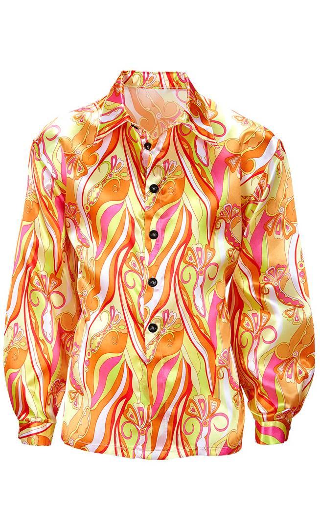 Chemise-Hippie-70s-Orange-Grande-Taille-XL-XXL